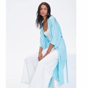 NWT Turquoise/Aqua belted Kimono